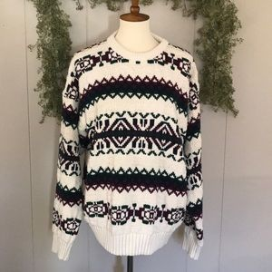 Vtg EDDIE BAUER Chunky Grandpa Nordic Sweater XL
